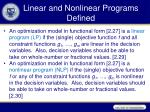 linear and nonlinear programs defined