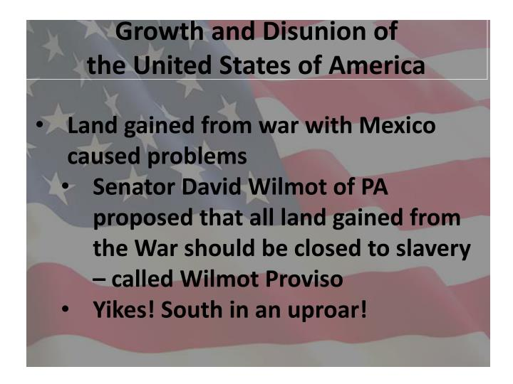 growth and disunion of the united states of america n.