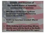 growth and disunion of the united states of america11