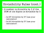 divisibility rules cont