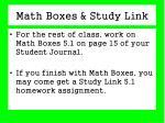 math boxes study link