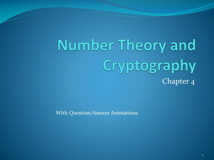 number theory and cryptography n.