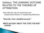 syllabus the learning outcome related to the theories of attribution