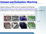 dataset and evaluation matching