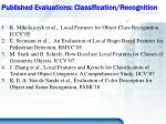 published evaluations classification recognition