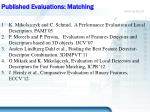 published evaluations matching