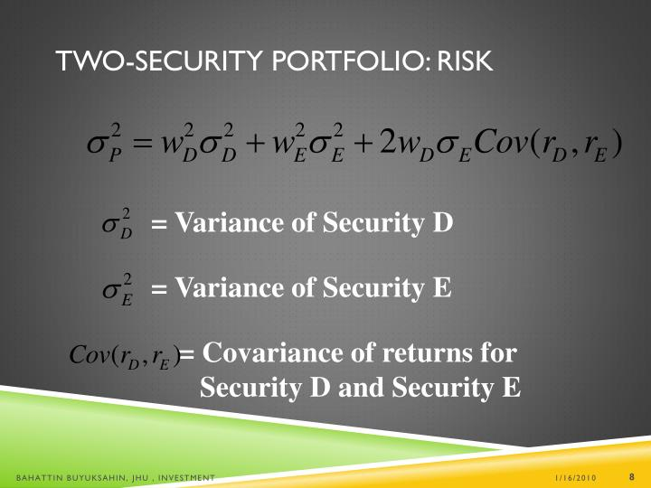 = Variance of Security D