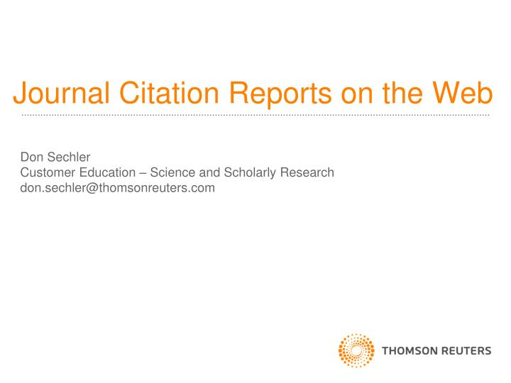journal citation reports on the web n.