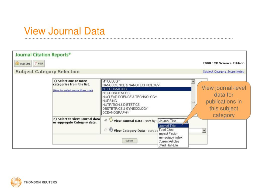 PPT - Journal Citation Reports on the Web PowerPoint