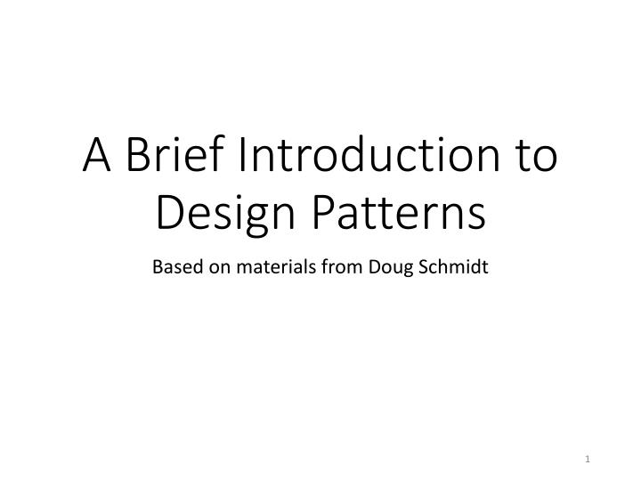 a brief introduction to design patterns n.