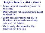 religious beliefs in africa cont