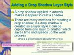 adding a drop shadow layer style