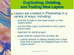 duplicating deleting and pasting new layers