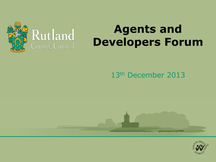 agents and developers forum n.