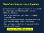 class dynamics and issue mitigation