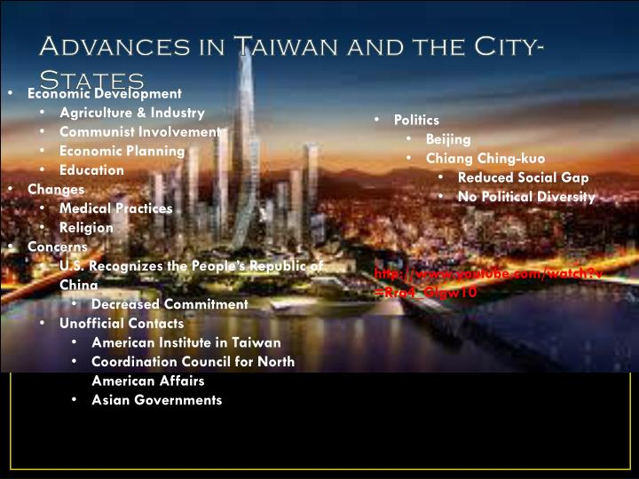Advances in Taiwan and the City-States