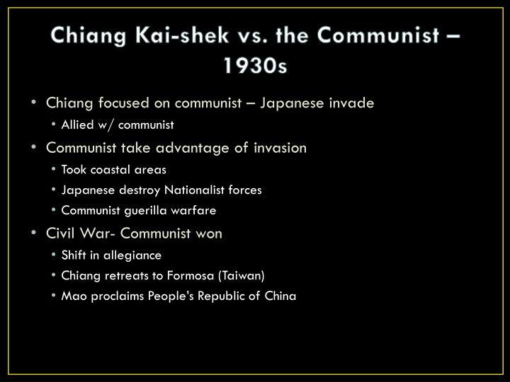Chiang Kai-shek vs. the Communist – 1930s