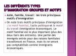 les diff rents types d immigration groupes et motifs