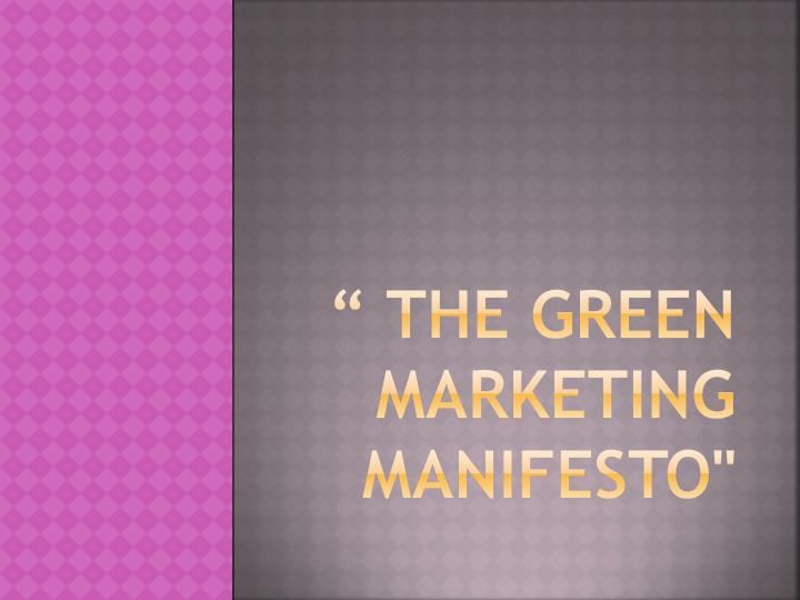 the green marketing manifesto n.