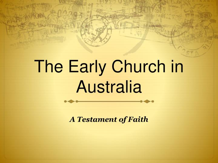 the early church in australia n.