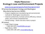 helpful resources ecology s lean and environment projects
