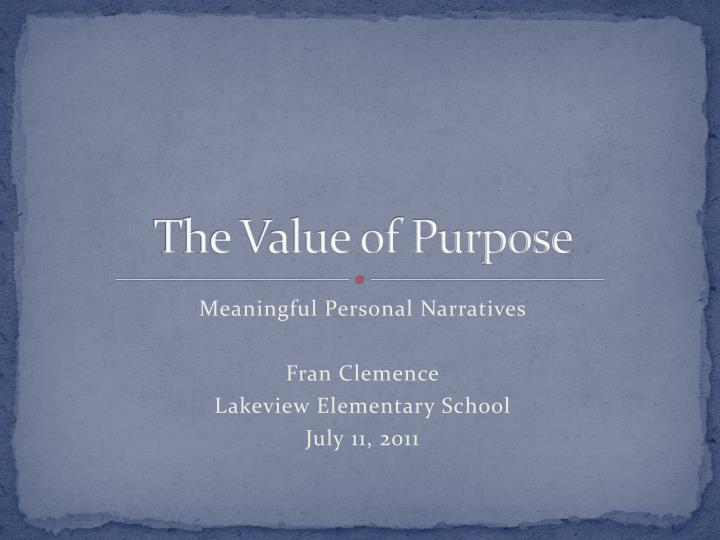 the value of purpose n.