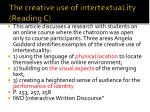 the creative use of intertextuality reading c