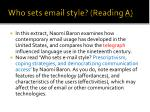 who sets email style reading a
