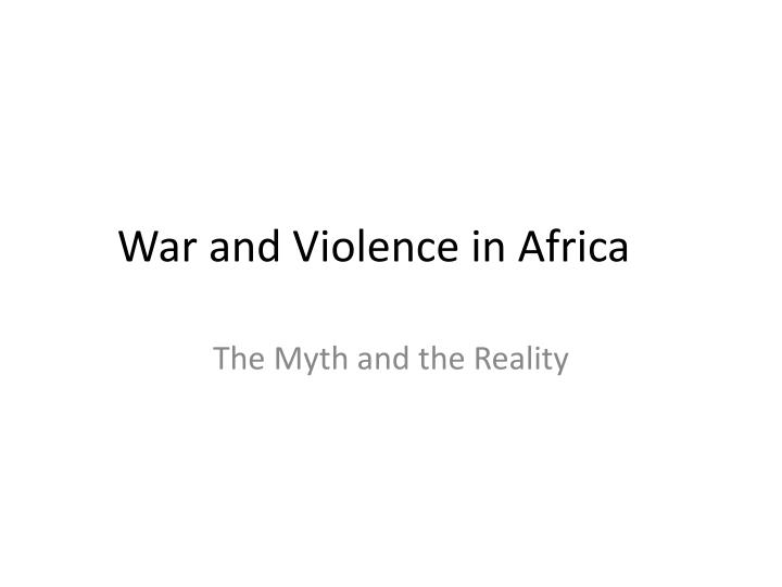 war and violence in africa n.