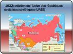 1922 cr ation de l union des r publiques socialistes sovi tiques urss