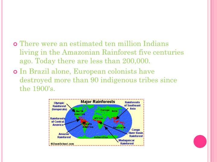 There were an estimated ten million Indians living in the Amazonian Rainforest five centuries ago. Today there are less than 200,000.