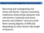return to and reintegration into the family