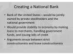 creating a national bank