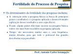 fertilidade do processo de pesquisa