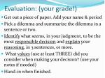 evaluation your grade