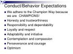 conduct behavior expectations