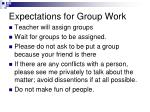 expectations for group work