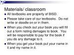 materials classroom