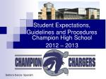 student expectations guidelines and procedures