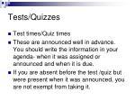 tests quizzes