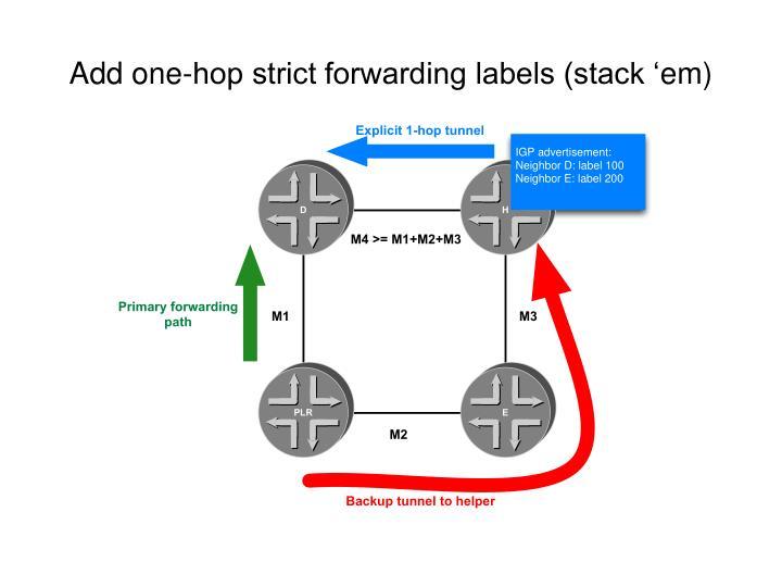 Add one-hop strict forwarding labels (stack '