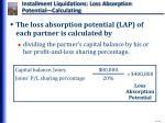 installment liquidations loss absorption potential calculating