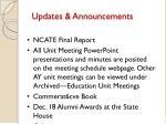 updates announcements