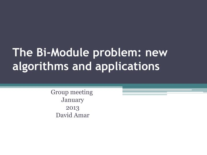 the bi module problem new algorithms and applications n.