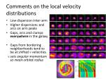 comments on the local velocity distributions