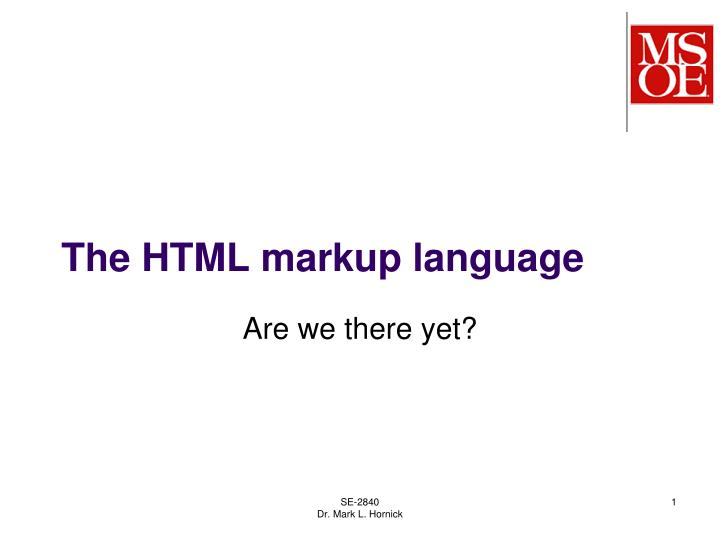 the html markup language n.