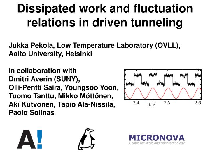 dissipated work and fluctuation relations in driven tunneling n.