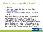 linking empirics to state of the art
