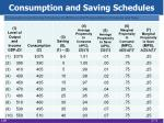 consumption and saving schedules