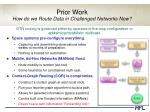 prior work how do we route data in challenged networks now